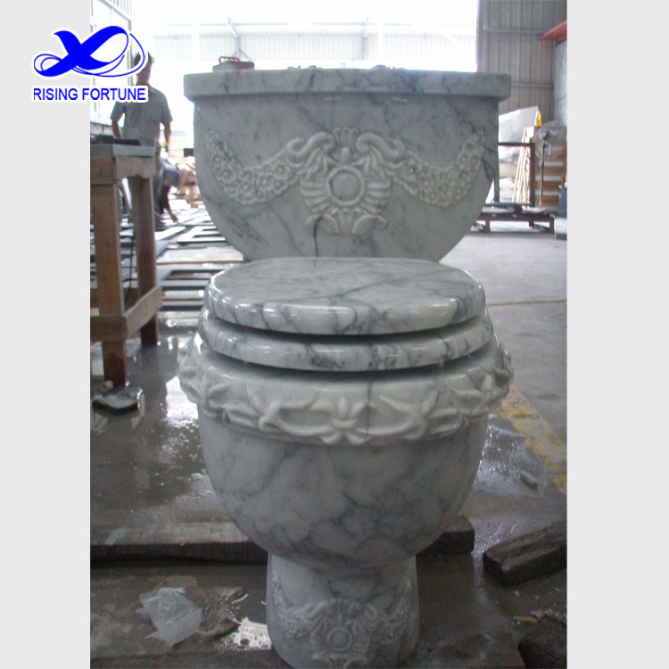 carrara white marble carved toilet