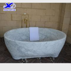 Carrara white solid marble bathtub