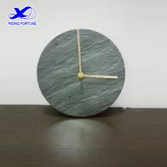Round green marble and copper wall clock
