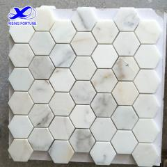 Hexagon white marble mosaic tile