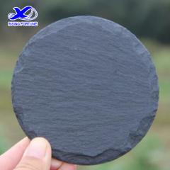 Round slate cup coaster with cork backing