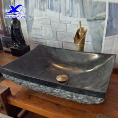 Black marble rectangular hand wash basin