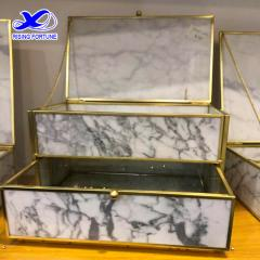 Marble desktop jewelry storage box with lid