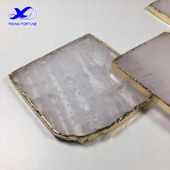 8-10cm square white crystal coasters with gold trim